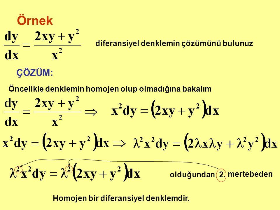 Örnek diferansiyel denklemin çözümünü bulunuz ÇÖZÜM: Öncelikle denklemin homojen olup olmadığına bakalım olduğundan 2. mertebeden Homojen bir diferans