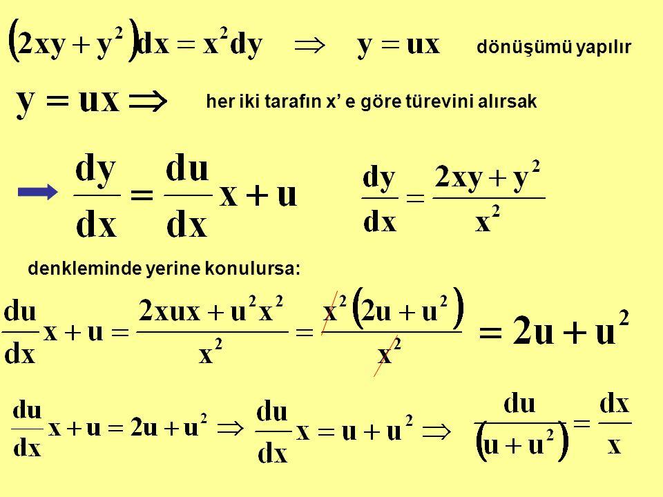 dönüşümü yapılır her iki tarafın x' e göre türevini alırsak denkleminde yerine konulursa: