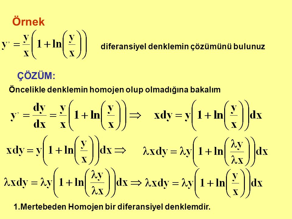 Örnek diferansiyel denklemin çözümünü bulunuz ÇÖZÜM: Öncelikle denklemin homojen olup olmadığına bakalım 1.Mertebeden Homojen bir diferansiyel denklemdir.