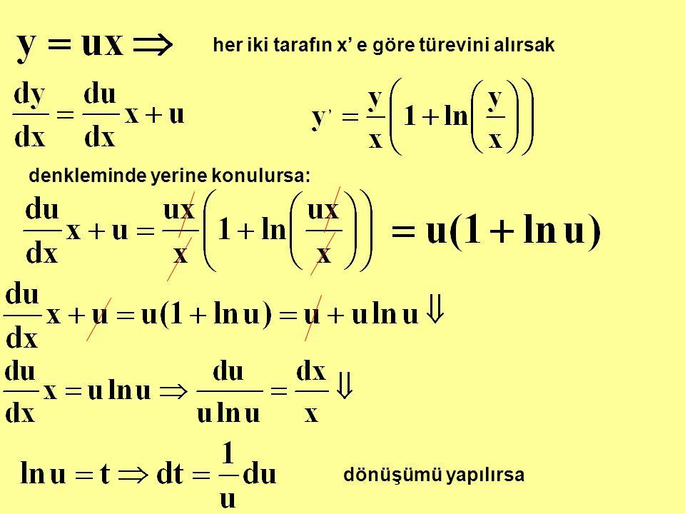 her iki tarafın x' e göre türevini alırsak denkleminde yerine konulursa: dönüşümü yapılırsa
