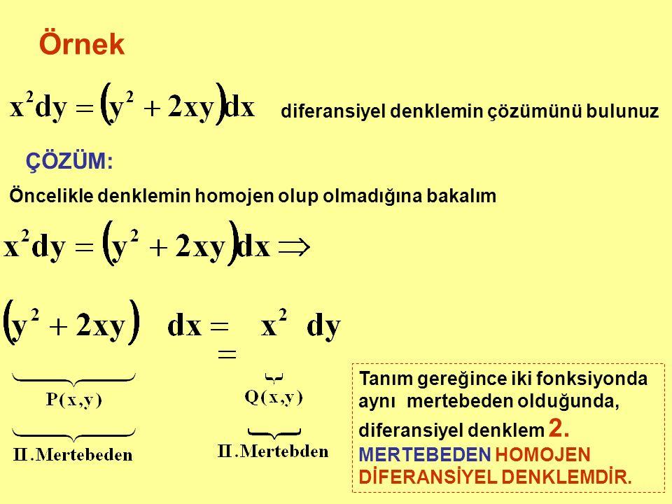 Örnek diferansiyel denklemin çözümünü bulunuz ÇÖZÜM: Öncelikle denklemin homojen olup olmadığına bakalım Tanım gereğince iki fonksiyonda aynı mertebeden olduğunda, diferansiyel denklem 2.