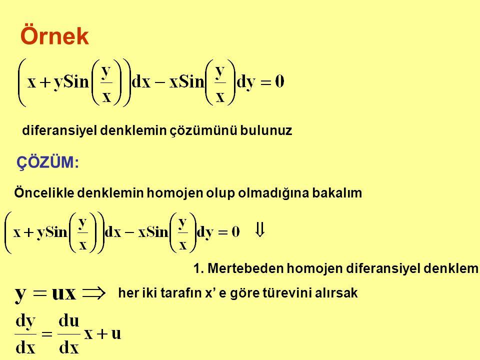 Örnek diferansiyel denklemin çözümünü bulunuz ÇÖZÜM: Öncelikle denklemin homojen olup olmadığına bakalım 1. Mertebeden homojen diferansiyel denklem he