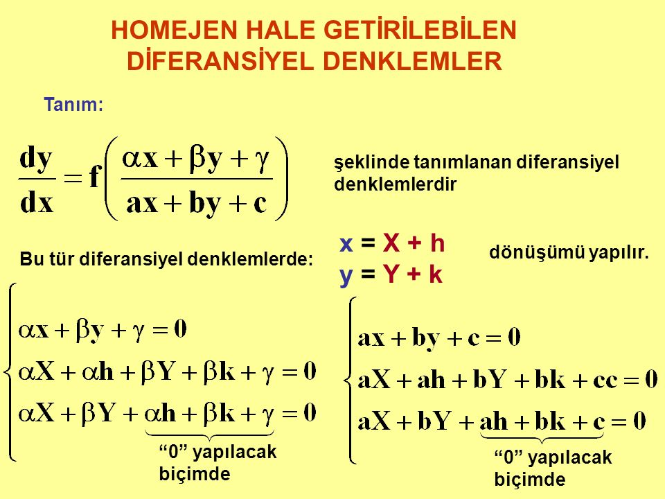 HOMEJEN HALE GETİRİLEBİLEN DİFERANSİYEL DENKLEMLER Tanım: şeklinde tanımlanan diferansiyel denklemlerdir Bu tür diferansiyel denklemlerde: x = X + h y = Y + k dönüşümü yapılır.