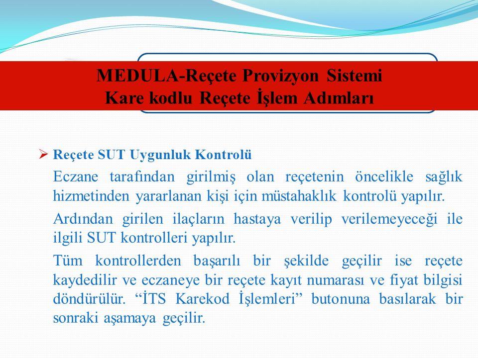 MEDULA-Reçete Provizyon Sistemi Kare kodlu Reçete İşlem Adımları  Reçete SUT Uygunluk Kontrolü Eczane tarafından girilmiş olan reçetenin öncelikle sağlık hizmetinden yararlanan kişi için müstahaklık kontrolü yapılır.