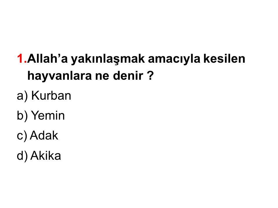 1.Allah'a yakınlaşmak amacıyla kesilen hayvanlara ne denir ? a) Kurban b) Yemin c) Adak d) Akika