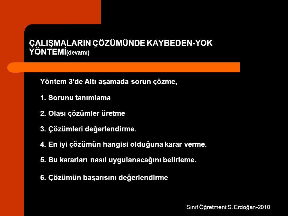 Sınıf Öğretmeni:S. Erdoğan-2010 Yöntem 3'de Altı aşamada sorun çözme, 1. Sorunu tanımlama 2. Olası çözümler üretme 3. Çözümleri değerlendirme. 4. En i