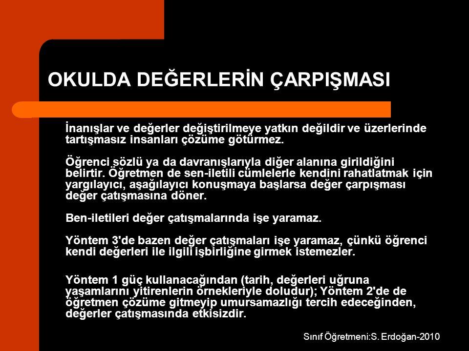 Sınıf Öğretmeni:S. Erdoğan-2010 OKULDA DEĞERLERİN ÇARPIŞMASI İnanışlar ve değerler değiştirilmeye yatkın değildir ve üzerlerinde tartışmasız insanları