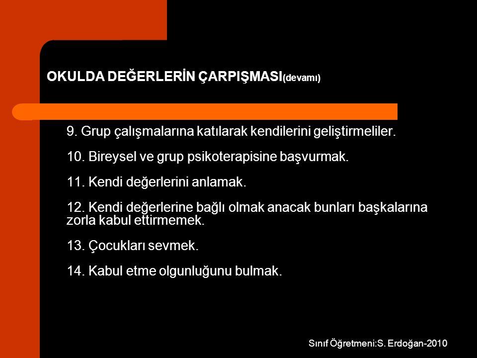 Sınıf Öğretmeni:S. Erdoğan-2010 9. Grup çalışmalarına katılarak kendilerini geliştirmeliler. 10. Bireysel ve grup psikoterapisine başvurmak. 11. Kendi