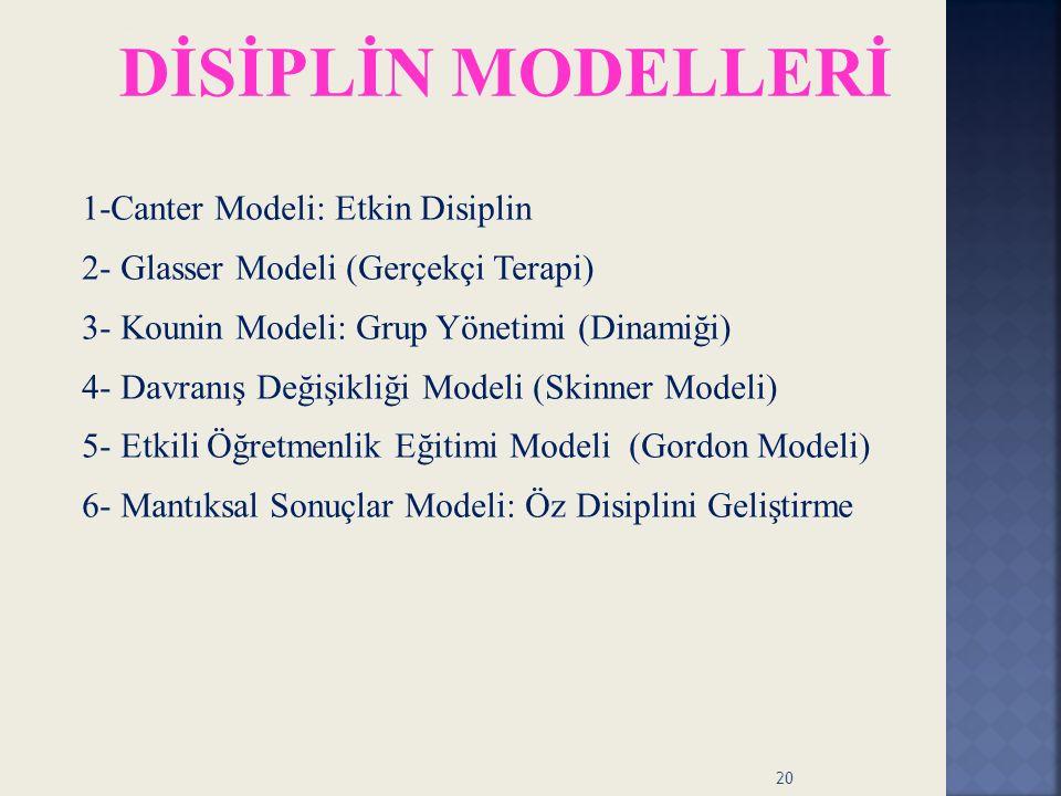 1- Canter Modeli: Etkin Disiplin 1-Canter Modeli: Etkin Disiplin 2- Glasser Modeli (Gerçekçi Terapi) 3- Kounin Modeli: Grup Yönetimi (Dinamiği) 4- Dav