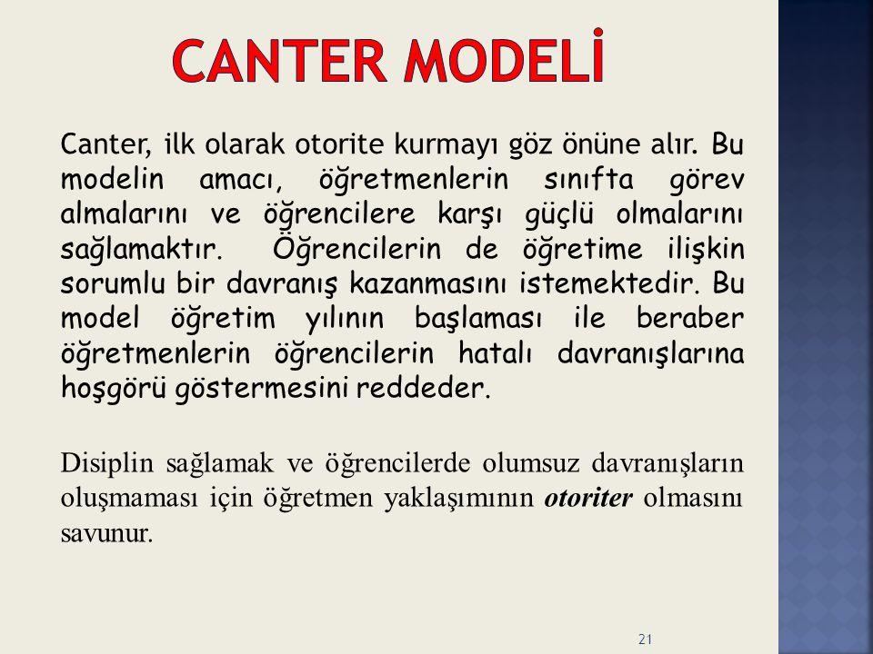 Canter, ilk olarak otorite kurmayı göz önüne alır. Bu modelin amacı, öğretmenlerin sınıfta görev almalarını ve öğrencilere karşı güçlü olmalarını sağl