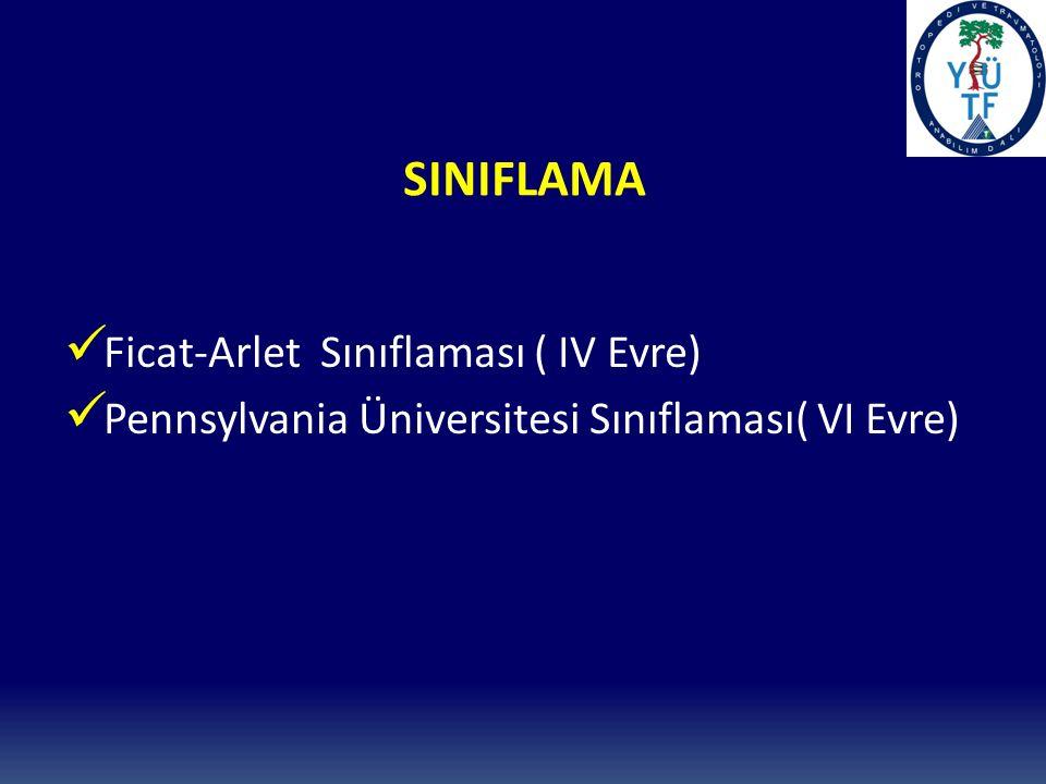 SINIFLAMA Ficat-Arlet Sınıflaması ( IV Evre) Pennsylvania Üniversitesi Sınıflaması( VI Evre)