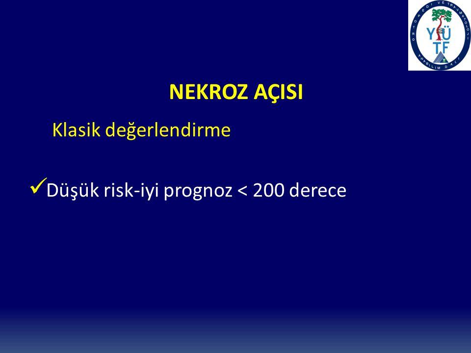 NEKROZ AÇISI Klasik değerlendirme Düşük risk-iyi prognoz < 200 derece