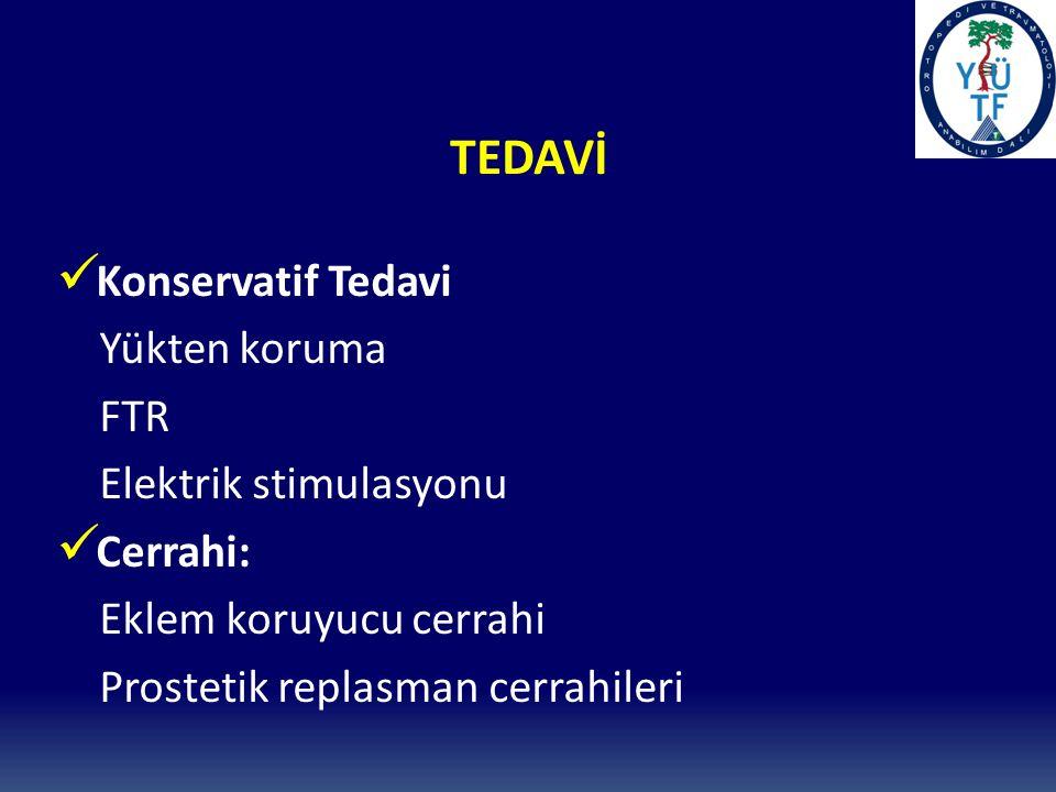 TEDAVİ Konservatif Tedavi Yükten koruma FTR Elektrik stimulasyonu Cerrahi: Eklem koruyucu cerrahi Prostetik replasman cerrahileri