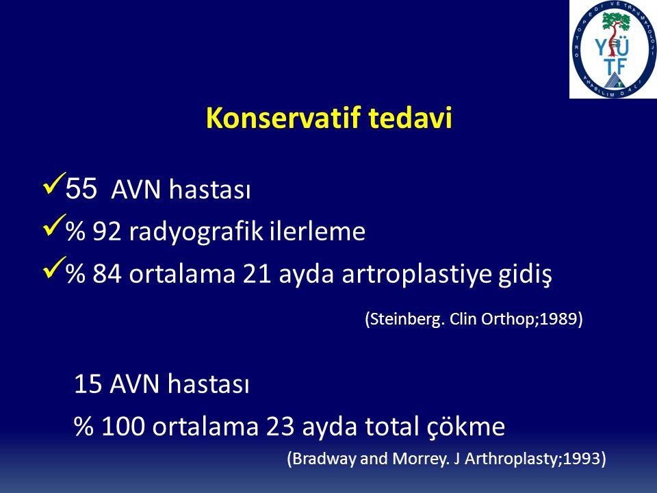 Konservatif tedavi 55 AVN hastası % 92 radyografik ilerleme % 84 ortalama 21 ayda artroplastiye gidiş (Steinberg.