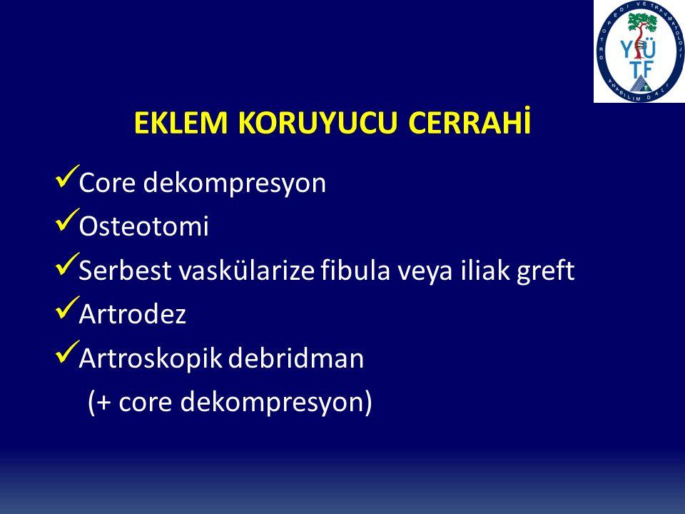 EKLEM KORUYUCU CERRAHİ Core dekompresyon Osteotomi Serbest vaskülarize fibula veya iliak greft Artrodez Artroskopik debridman (+ core dekompresyon)