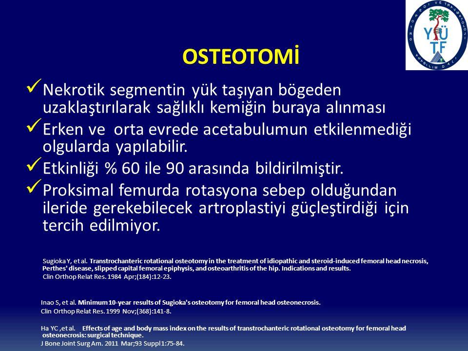 OSTEOTOMİ Nekrotik segmentin yük taşıyan bögeden uzaklaştırılarak sağlıklı kemiğin buraya alınması Erken ve orta evrede acetabulumun etkilenmediği olgularda yapılabilir.