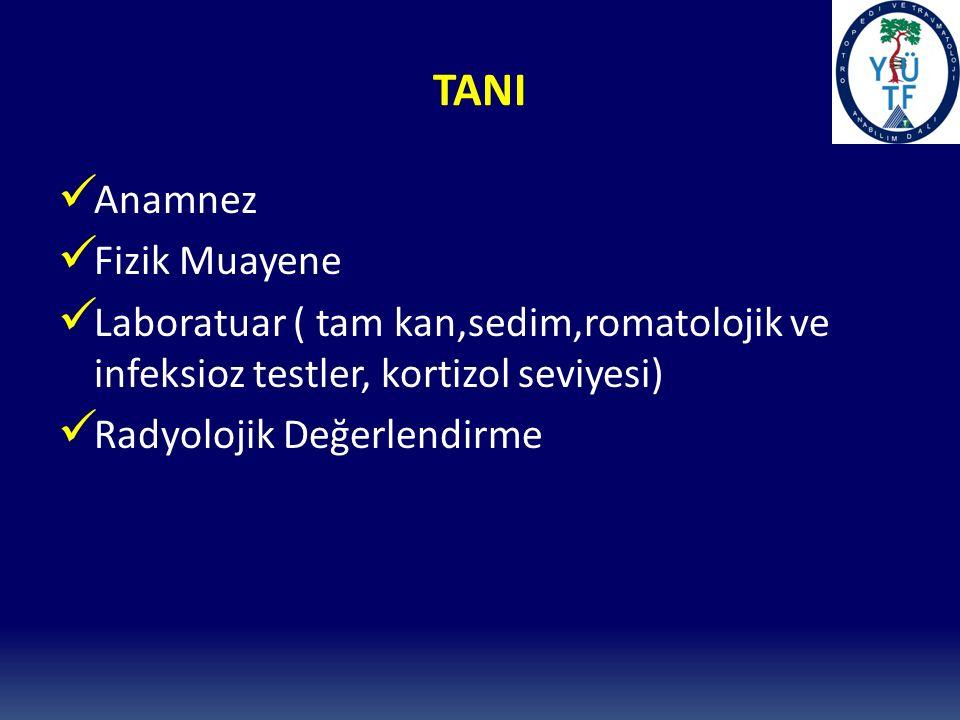 TANI Anamnez Fizik Muayene Laboratuar ( tam kan,sedim,romatolojik ve infeksioz testler, kortizol seviyesi) Radyolojik Değerlendirme