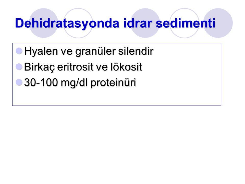 Dehidratasyonda idrar sedimenti Hyalen ve granüler silendir Hyalen ve granüler silendir Birkaç eritrosit ve lökosit Birkaç eritrosit ve lökosit 30-100 mg/dl proteinüri 30-100 mg/dl proteinüri