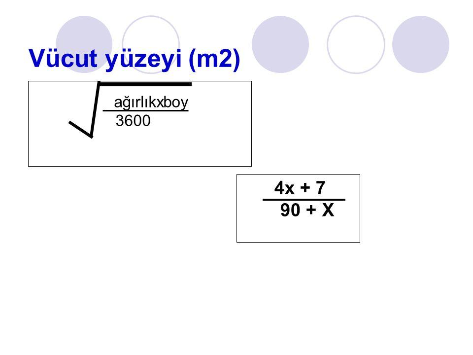 Vücut yüzeyi (m2) ağırlıkxboy 3600 4x + 7 90 + X