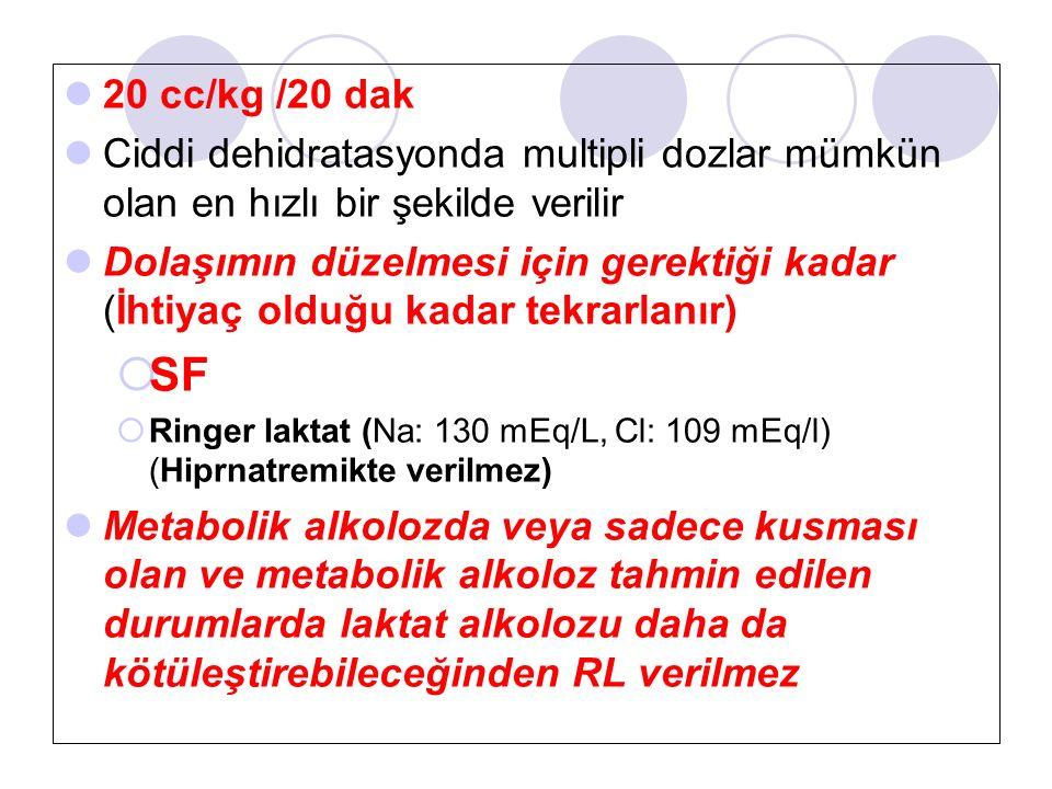 20 cc/kg /20 dak Ciddi dehidratasyonda multipli dozlar mümkün olan en hızlı bir şekilde verilir Dolaşımın düzelmesi için gerektiği kadar (İhtiyaç olduğu kadar tekrarlanır)  SF  Ringer laktat (Na: 130 mEq/L, Cl: 109 mEq/l) (Hiprnatremikte verilmez) Metabolik alkolozda veya sadece kusması olan ve metabolik alkoloz tahmin edilen durumlarda laktat alkolozu daha da kötüleştirebileceğinden RL verilmez