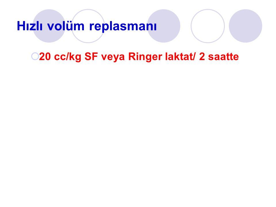 Hızlı volüm replasmanı 220 cc/kg SF veya Ringer laktat/ 2 saatte