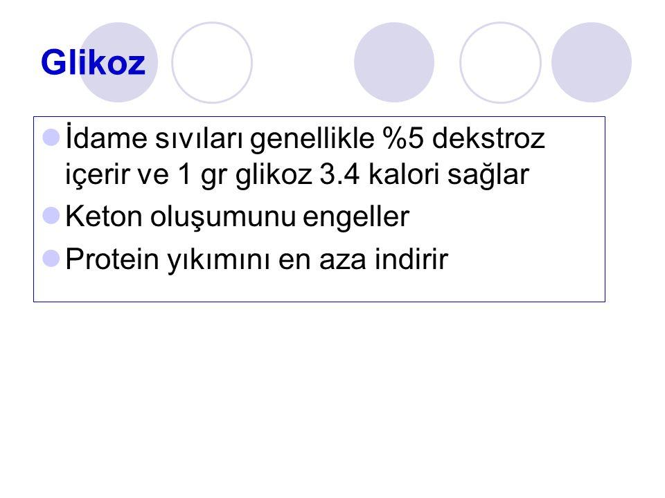 Glikoz İdame sıvıları genellikle %5 dekstroz içerir ve 1 gr glikoz 3.4 kalori sağlar Keton oluşumunu engeller Protein yıkımını en aza indirir