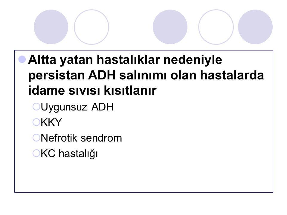Altta yatan hastalıklar nedeniyle persistan ADH salınımı olan hastalarda idame sıvısı kısıtlanır  Uygunsuz ADH  KKY  Nefrotik sendrom  KC hastalığı