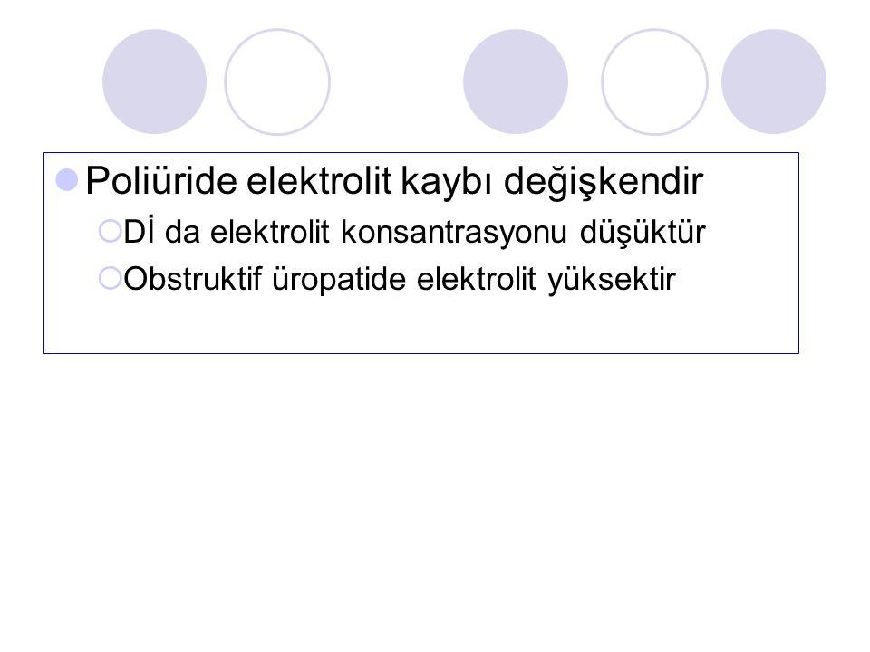 Poliüride elektrolit kaybı değişkendir  Dİ da elektrolit konsantrasyonu düşüktür  Obstruktif üropatide elektrolit yüksektir