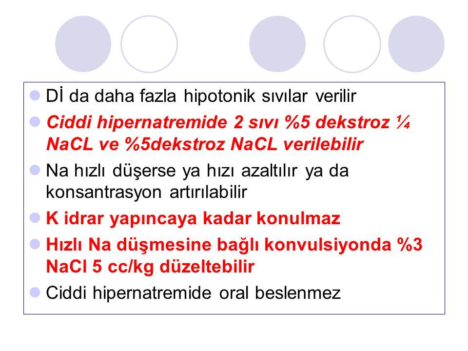 Dİ da daha fazla hipotonik sıvılar verilir Ciddi hipernatremide 2 sıvı %5 dekstroz ¼ NaCL ve %5dekstroz NaCL verilebilir Na hızlı düşerse ya hızı azaltılır ya da konsantrasyon artırılabilir K idrar yapıncaya kadar konulmaz Hızlı Na düşmesine bağlı konvulsiyonda %3 NaCl 5 cc/kg düzeltebilir Ciddi hipernatremide oral beslenmez