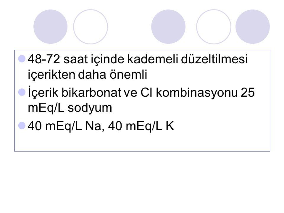 48-72 saat içinde kademeli düzeltilmesi içerikten daha önemli İçerik bikarbonat ve Cl kombinasyonu 25 mEq/L sodyum 40 mEq/L Na, 40 mEq/L K