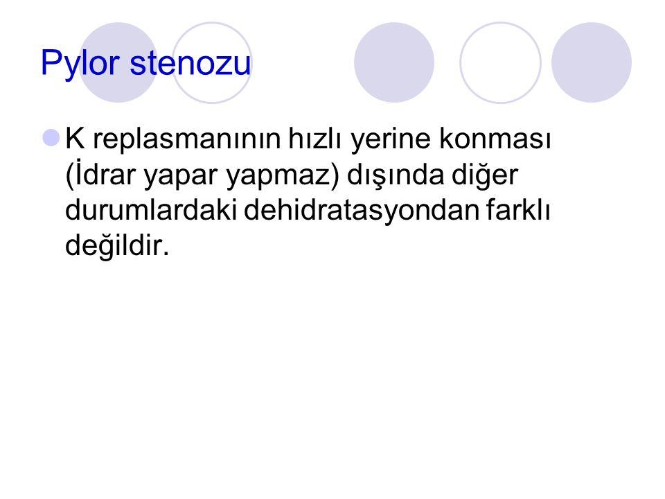 Pylor stenozu K replasmanının hızlı yerine konması (İdrar yapar yapmaz) dışında diğer durumlardaki dehidratasyondan farklı değildir.