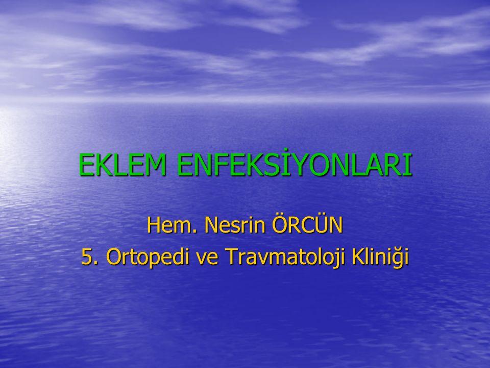 EKLEM ENFEKSİYONLARI Hem. Nesrin ÖRCÜN 5. Ortopedi ve Travmatoloji Kliniği