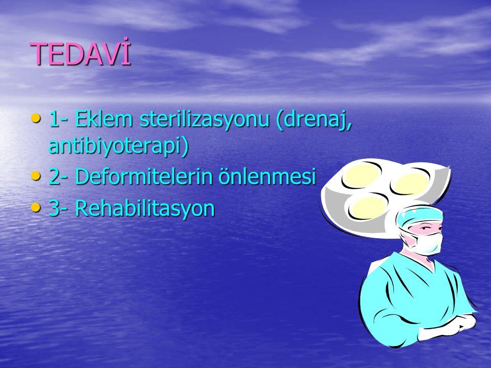 TEDAVİ 1- Eklem sterilizasyonu (drenaj, antibiyoterapi) 1- Eklem sterilizasyonu (drenaj, antibiyoterapi) 2- Deformitelerin önlenmesi 2- Deformitelerin