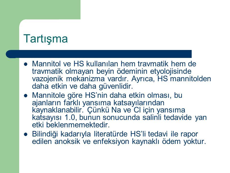 Tartışma Mannitol ve HS kullanılan hem travmatik hem de travmatik olmayan beyin ödeminin etyolojisinde vazojenik mekanizma vardır. Ayrıca, HS mannitol