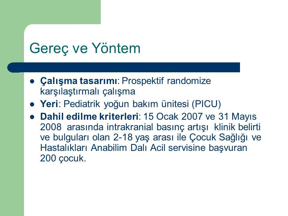 Gereç ve Yöntem Çalışma tasarımı: Prospektif randomize karşılaştırmalı çalışma Yeri: Pediatrik yoğun bakım ünitesi (PICU) Dahil edilme kriterleri: 15