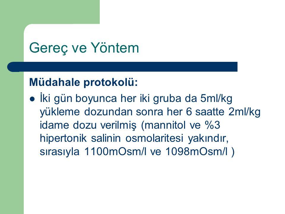 Gereç ve Yöntem Müdahale protokolü: İki gün boyunca her iki gruba da 5ml/kg yükleme dozundan sonra her 6 saatte 2ml/kg idame dozu verilmiş (mannitol v