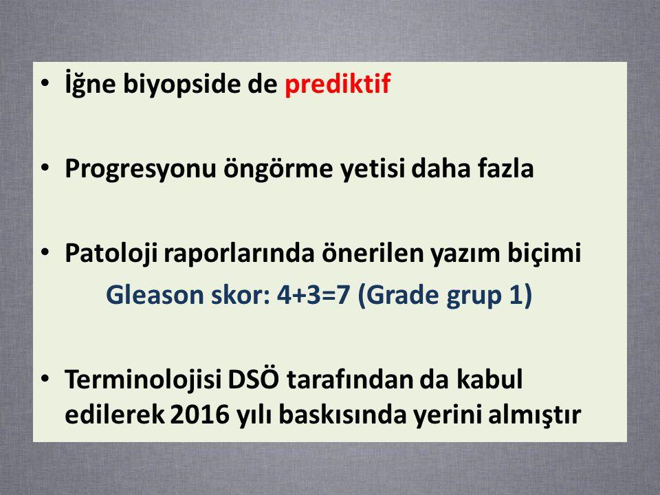 İğne biyopside de prediktif Progresyonu öngörme yetisi daha fazla Patoloji raporlarında önerilen yazım biçimi Gleason skor: 4+3=7 (Grade grup 1) Terminolojisi DSÖ tarafından da kabul edilerek 2016 yılı baskısında yerini almıştır