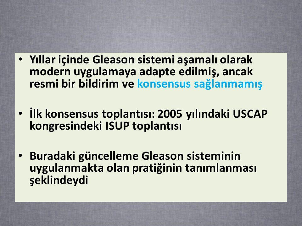 Yıllar içinde Gleason sistemi aşamalı olarak modern uygulamaya adapte edilmiş, ancak resmi bir bildirim ve konsensus sağlanmamış İlk konsensus toplantısı: 2005 yılındaki USCAP kongresindeki ISUP toplantısı Buradaki güncelleme Gleason sisteminin uygulanmakta olan pratiğinin tanımlanması şeklindeydi