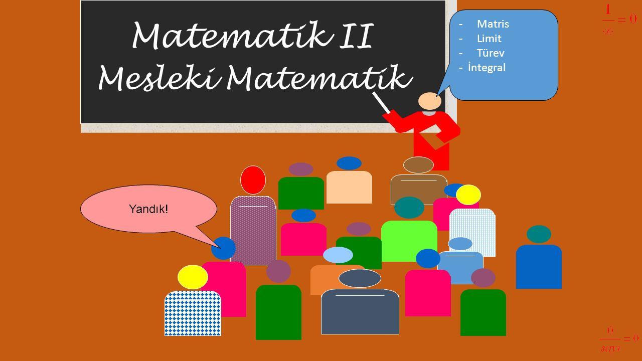 Matematik II Mesleki Matematik Yandık! -Matris -Limit -Türev - İntegral