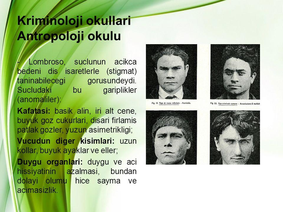 Kriminoloji okullari Antropoloji okulu - Lombroso, suclunun acikca bedeni dis isaretlerle (stigmat) taninabilecegi gorusundeydi. Sucludaki bu gariplik