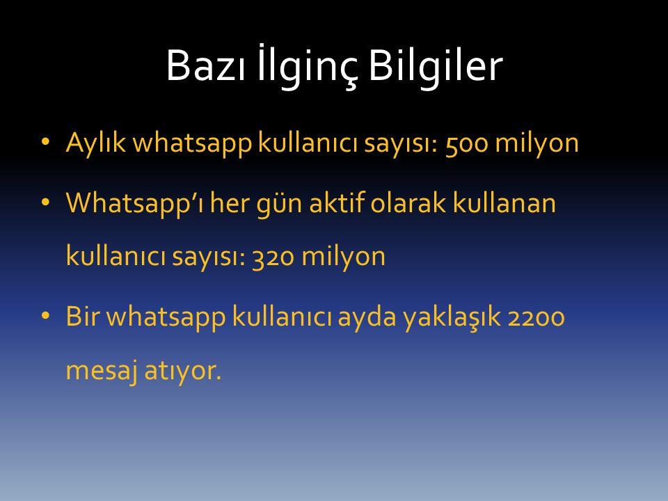 Bazı İlginç Bilgiler Aylık whatsapp kullanıcı sayısı: 500 milyon Whatsapp'ı her gün aktif olarak kullanan kullanıcı sayısı: 320 milyon Bir whatsapp ku