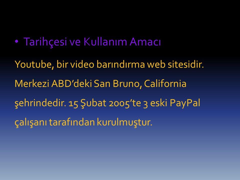 Tarihçesi ve Kullanım Amacı Youtube, bir video barındırma web sitesidir. Merkezi ABD'deki San Bruno, California şehrindedir. 15 Şubat 2005'te 3 eski P