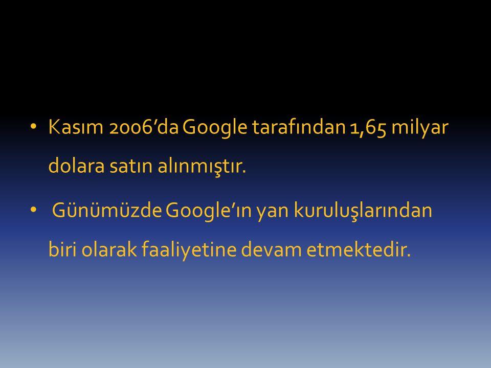 Kasım 2006'da Google tarafından 1,65 milyar dolara satın alınmıştır. Günümüzde Google'ın yan kuruluşlarından biri olarak faaliyetine devam etmektedir.