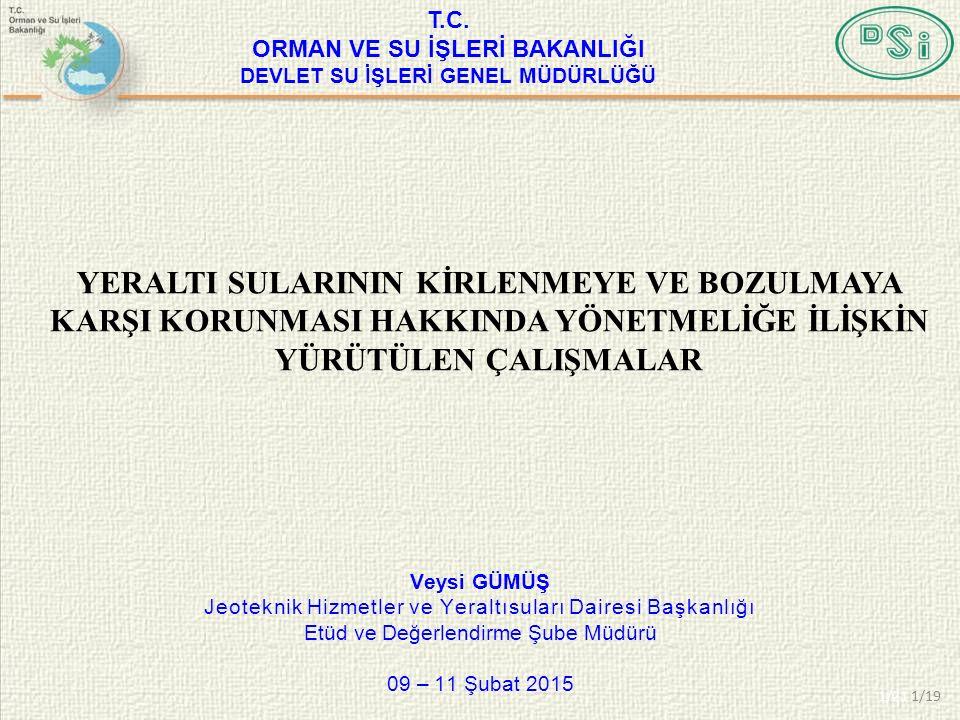 Veysi GÜMÜŞ Jeoteknik Hizmetler ve Yeraltısuları Dairesi Başkanlığı Etüd ve Değerlendirme Şube Müdürü 09 – 11 Şubat 2015 1/21 T.C.