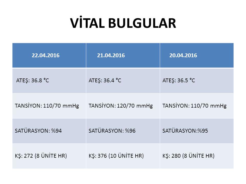 VİTAL BULGULAR 22.04.2016 21.04.2016 20.04.2016 ATEŞ: 36.8 °CATEŞ: 36.4 °CATEŞ: 36.5 °C TANSİYON: 110/70 mmHgTANSİYON: 120/70 mmHgTANSİYON: 110/70 mmH