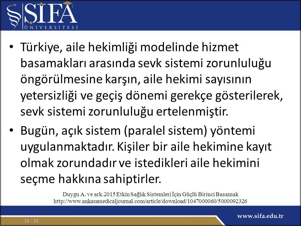 Türkiye, aile hekimliği modelinde hizmet basamakları arasında sevk sistemi zorunluluğu öngörülmesine karşın, aile hekimi sayısının yetersizliği ve geçiş dönemi gerekçe gösterilerek, sevk sistemi zorunluluğu ertelenmiştir.