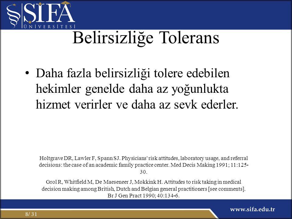Belirsizliğe Tolerans Daha fazla belirsizliği tolere edebilen hekimler genelde daha az yoğunlukta hizmet verirler ve daha az sevk ederler. / 318 Holtg