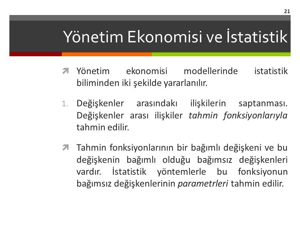 Yönetim Ekonomisi ve İstatistik  Yönetim ekonomisi modellerinde istatistik biliminden iki şekilde yararlanılır.