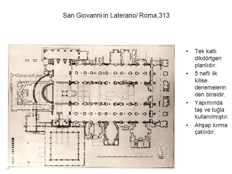 Tek katlı dikdörtgen planlıdır. 5 nefli ilk kilise denemelerin den birisidir. Yapımında taş ve tuğla kullanılmıştır. Ahşap kırma çatılıdır. San Giovan