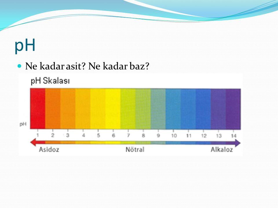pH Ne kadar asit Ne kadar baz